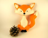 Personalized felt fox toy, Fox stuffed animal , Plush Fox Toy, Fox nursery decor, Fox Stuffed toy handmade, woodland nursery decor, orange