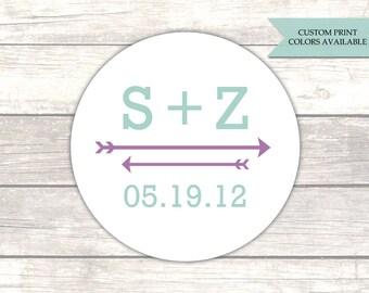 Initial stickers - Arrow stickers - Envelope stickers - Wedding envelope seals - Monogram stickers (RW073)