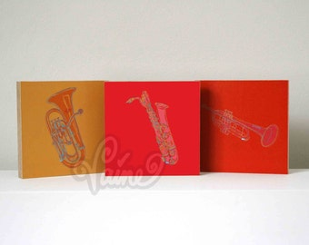 Music illustration on wood 'Baritone Saxophone', several instruments possible