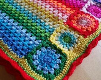 Rainbow baby blanket, rainbow baby gift, crochet baby blanket, rainbow blanket, stroller blanket, rainbow baby, hippie blanket, pride baby