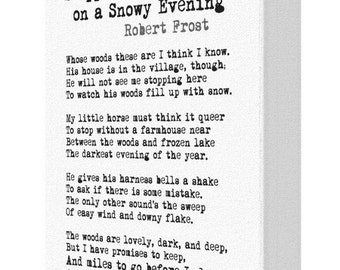 Stopping By The Woods On A Snowy Evening Robert Frost Poem Canvas Print