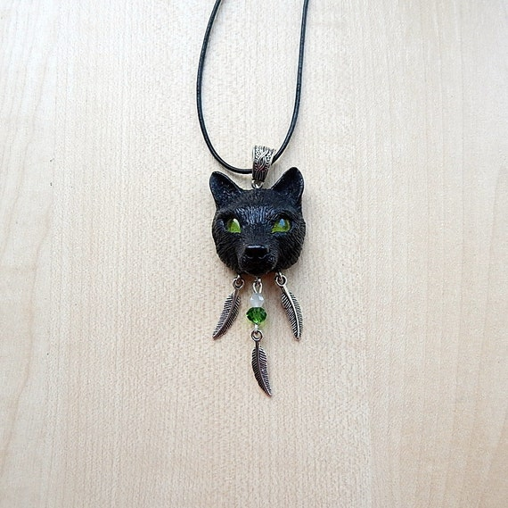 black wolf pendant wolf necklace animal totem wolf by