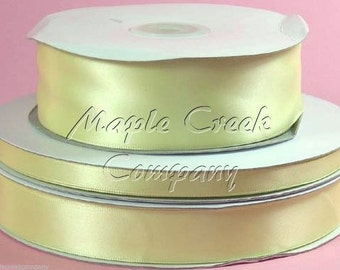 5/8 inch x 100 yards of Light Yellow Double Face Satin Ribbon