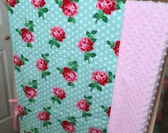 Baby Blanket - Flower Baby Blanket - Baby Crib Blanket - Personalized Baby Blanket - Floral Baby Blanket - Crib Blanket - Girl Baby Blanket