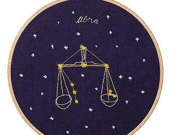 Bilancia (23 settembre - 22 ottobre) ricamo dello zodiaco