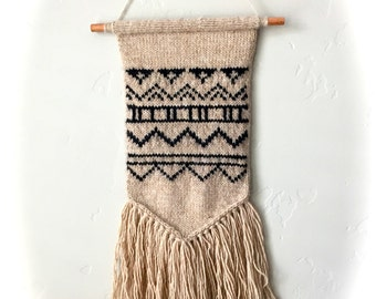 Wool tribal hand knit wall art/hanging