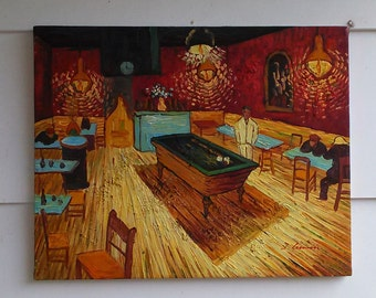 """Vincent Van Gogh Oil Painting """"The Night Café"""" 1888  Oil Painting on Canvas Reproduction by J. Ganah. Van Gogh Palette Oil Painting"""