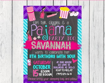 Pajama Slumber Party Personalized birthday invitation- ***Digital File***(pj-Lipgloss)