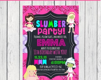 Slumber Party Personalized birthday invitation- ***Digital File*** (Slumber-chev pnk)