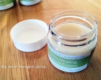 Extra Healing Cuticle Cream - Green Tea & Lemongrass scented - Perfect for winter damaged fingers! {.5oz}