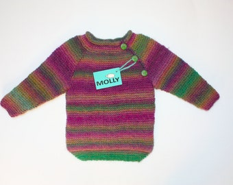 Violet hand made children cardigan in EU size 104; 2,5-3 years old, organic wool, shorter front longer back