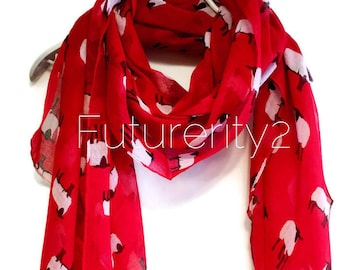 Sheep Red Spring Scarf / Summer Scarf / Gift For Her / Women Scarves / Fashion Accessories