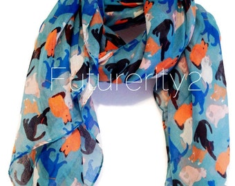 Cats Blue Spring Scarf / Summer Scarf / Autumn Scarf / Gift For Her / Women Scarves / Fashion Accessories
