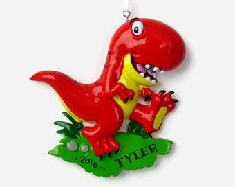 Dinosaur Personalized Ornament - Tyrannosaurus Rex - Hand Personalized Christmas Ornament