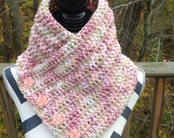 Cowl. Buttoned cowl. Crocheted cowl. Pink, rose, tan and soft white cowl.