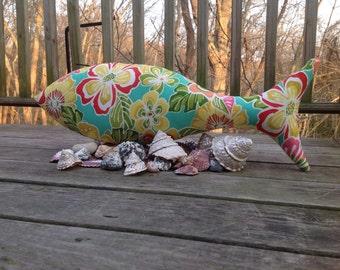 Fish Pillow. Tropical print Fish Pillow. Beach House Decor. Beach.