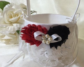Flower Girl Basket Wedding White or Ivory CUSTOM Rhinestone Crystal Flower Pearls colors Red Black