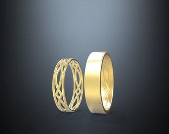 14K Gold Eternity Wedding Rings Set | Handmade solid 14k gold eternity wedding Rings | His and Hers Wedding Bands Set