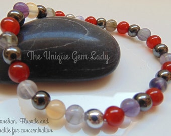 Concerntration Gemstone Blend 6mm Round Bead Beaded Stretch Bracelet Handmade To Order