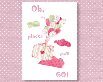 126,Oh, the places you'll go,Dr seuss,Baby girl room decor,nursery art print,green,pink nursery, ballon nursery
