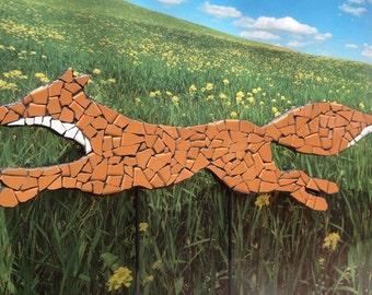 Outdoor yard sculpture, fox, yard ornament, garden decor, animal sculpture, red fox, tile mosaic