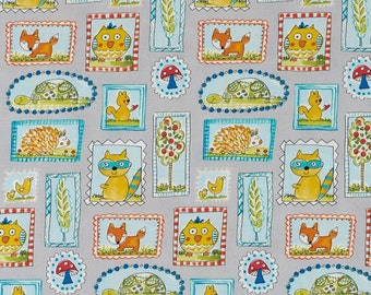 SALE! Fabric of the Week 2.00/Yard  - Frames in Grey, Fox Playground Collection by Dena Designs for Free Spirit 4156
