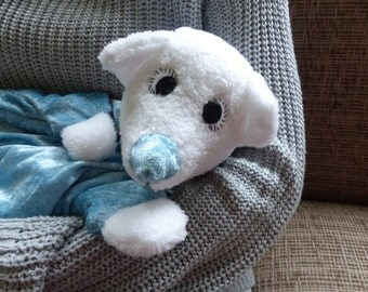 Polar bear, cuddly rag bear, free shipping.