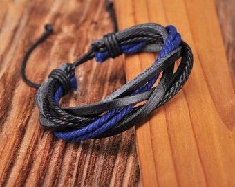 Leather and Hemp Bracelet, Black and Blue Adjustable Cool Surfer Style Father's JLA-36