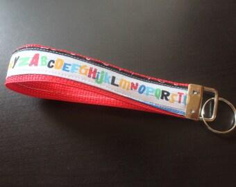 Abc teacher keychain/keyfob/wristlet