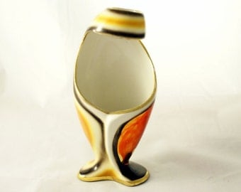 Vintage Sesto Fiamma Vase # 2175 Italy, hand painted porcelain, red, orange with gold trims, around 1950