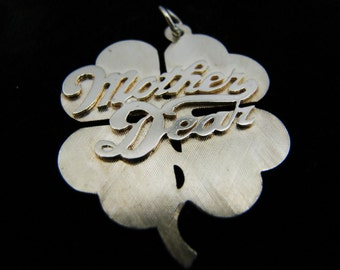 Beautiful 14k Yellow Gold Four Leaf Clover with Mother Dear Across Top Pendant