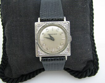 a064 Handsome Vintage Early 1970's Longines Watch in 14k White Gold with Diamonds