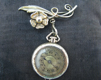 Vintage Esprit Lapel Watch with Flower Watch Pin