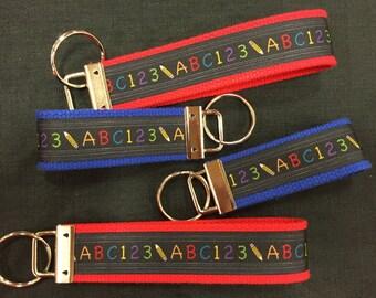 School/Teacher/ABC Wristlet and Mini Keychain/Key Fob