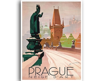 Prague Art Czech Travel Poster Home Decor Retro Print (XR700)