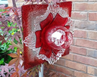Vintage Ruby and Crystal Glass Flower