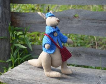 Kangaroo, animal tilda, plush toy, stuffed animal, cute animal, Australia, Australian kangaroo, stuffed doll, Tilda doll, Tilda kangaroo