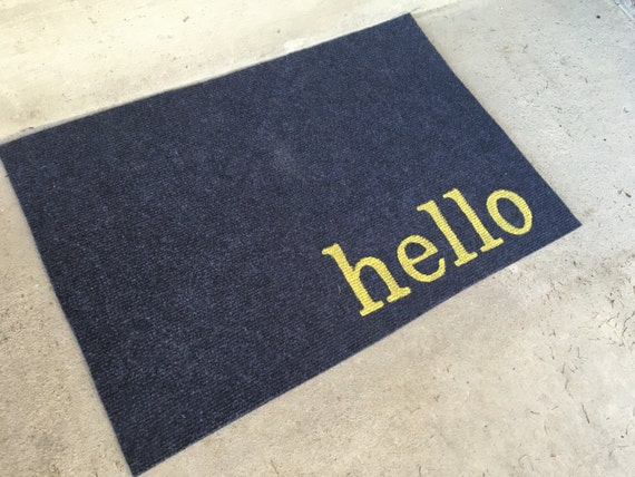 hello doormat door mat greeting funny friendly by thoughtfultot. Black Bedroom Furniture Sets. Home Design Ideas