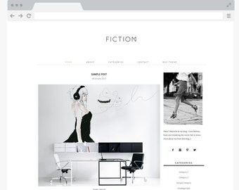 Premade Wordpress BLOG Theme - Responsive Wordpress Theme - Genesis Child Theme - Fashion Blog, Minimalist Blog Template - Fiction