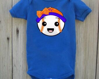 Mets Inspired Bodysuit for Baby Girl