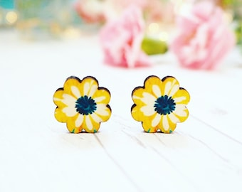 Wooden Floral Studs | Studded Earrings