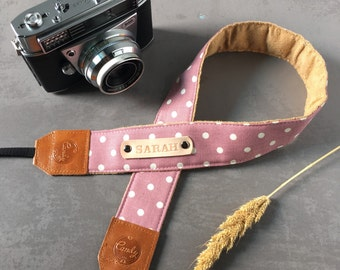 Polka Dot DSLR camera strap,Light Purple   Polka Dot Camera Strap, leather camera Strap ,