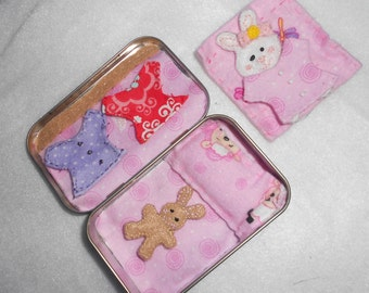 Altoid road trip bunnies play set, pandas, or bears with dresses, travel, stuffed animal,bedtime,girl,felt,church toy,quiet, summer travel