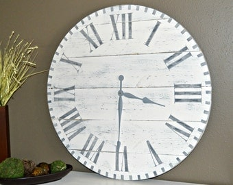 "30"" Large Oversized Rustic Wood Wall Clock-Antique White with Gray Roman Numerals"