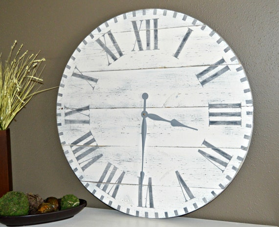 30 large oversized rustic wood wall clock antique white