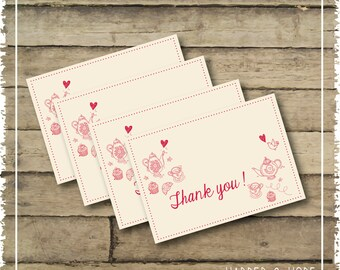 Tea Party 5th Birthday Thank you Notes _ Printable