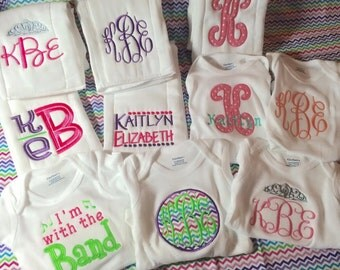 Large Set of Onesies and Burp Cloths