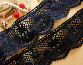 "2 Colour Black and navy blue Cotton lace trim embroidery trim 2.75""wide x 2 yards long(xiao)"