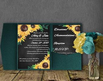 Sunflower Wedding Invitation Template, Pocketfold Invitation Suite, Wedding Invitation, Pocket Template, DIY Wedding Invitation, Sunflower