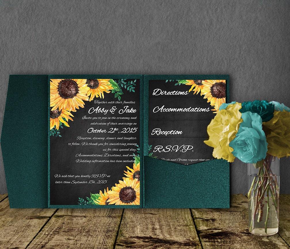 Sunflower Wedding Invitation Template Pocketfold Invitation